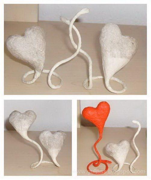 Die Herzen zu machen, ist einfach.  Sie brauchen dafür ein Draht, Alufolie, Tapetenkleister, Toilettenpapier (Servietten), Krepp-Klebeba...