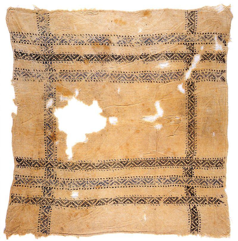 Islamic Egyptian handkerchief from Mamluk period (1250-1517)--Reversible Blackwork. Same on back/front...