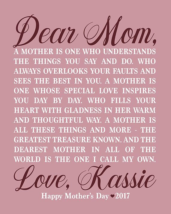 Mother'S Day 2017 Gift Ideas. Personalized Letter To Mom Art. Mom