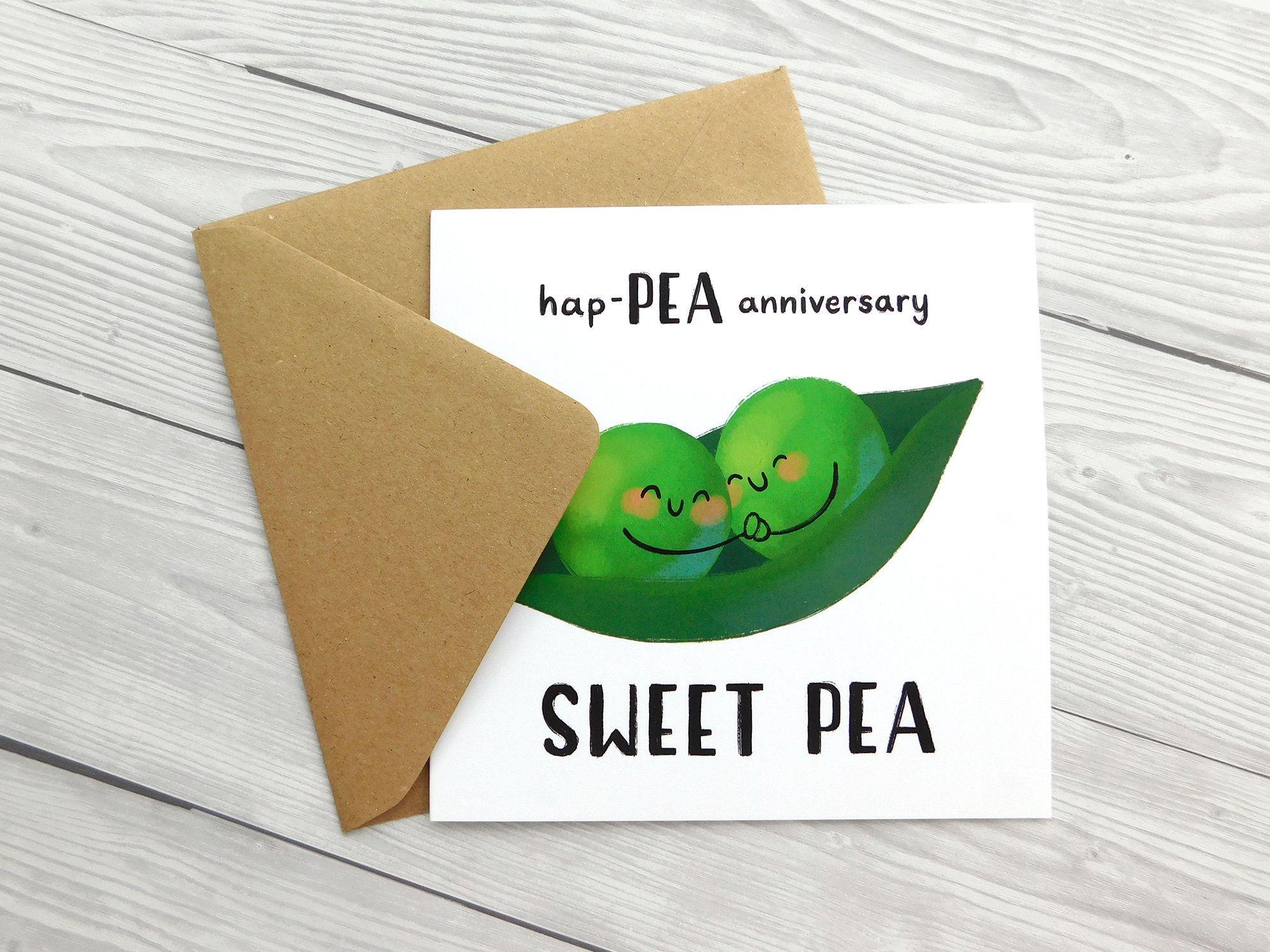 Sweet Pea Anniversary Card Cute Vegetable Pun Card Hap Pea Etsy Pun Card Anniversary Cards Square Greeting Card