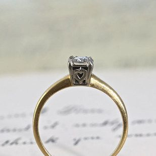 1950s Diamond Engagement Ring With Heart Detail 595