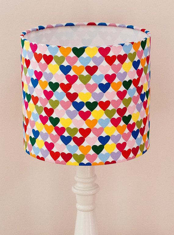 Bespoke Bright Multi Coloured Heart Lampshade In 39 Heart To Heart 39 Fabric By Alexander Henry Custom Handmade Lampshades Fabric Lampshade Bright Homes