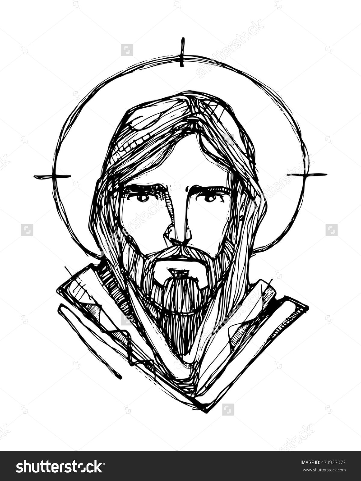 Hand drawn vector illustration or drawing of jesus christ face 474927073 shutterstock