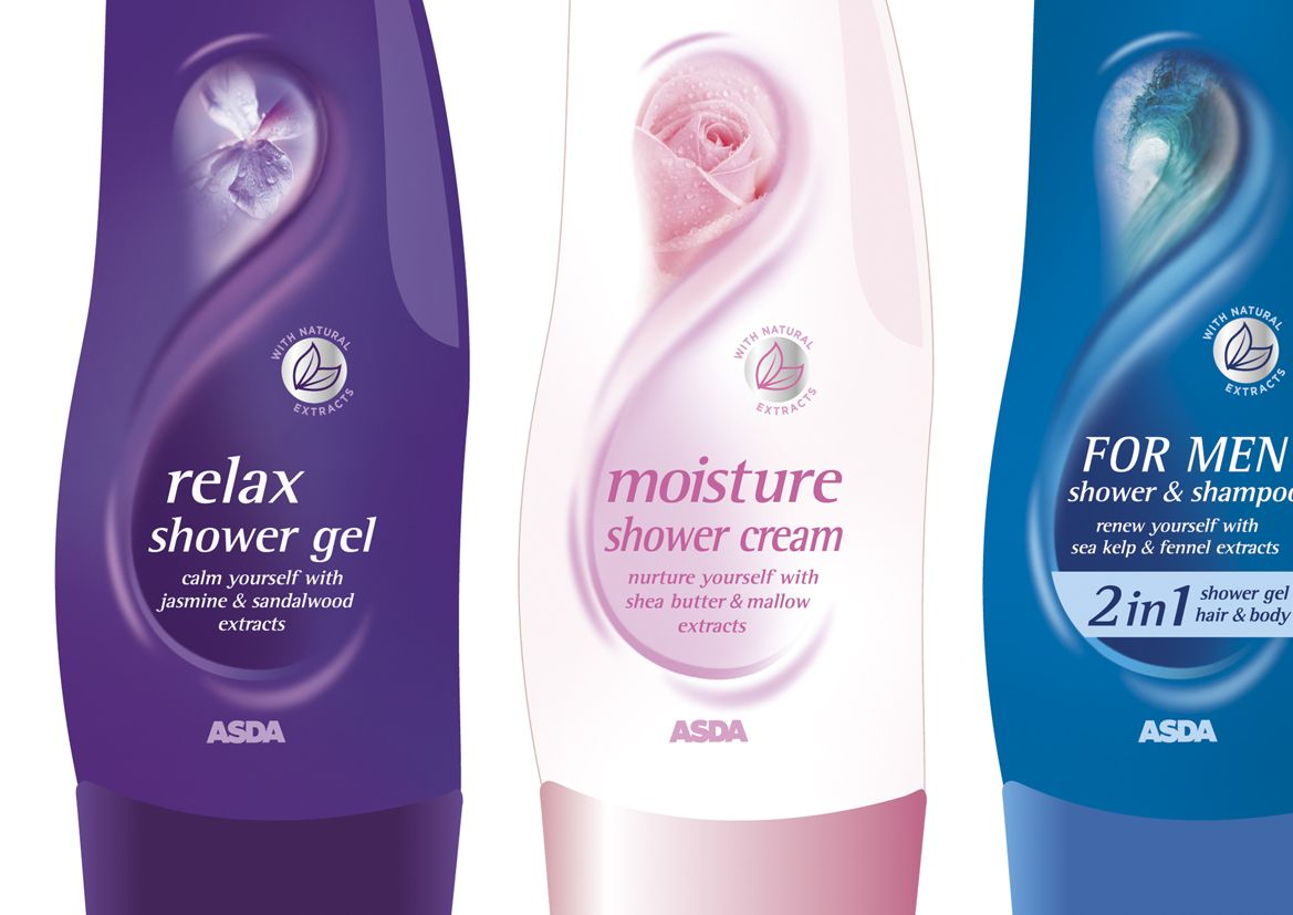 Asda Bath Shower Shower Gel Packaging Shower Gel Cosmetic