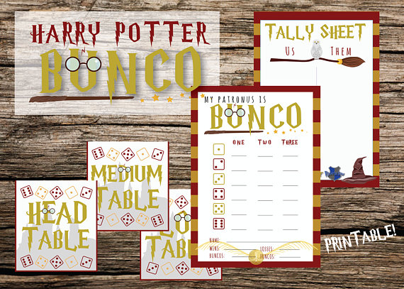 photo about Printable Bunco Cards titled Printable Bunco Fixed, Harry Potter Bunco, Bunco Playing cards, Bunco