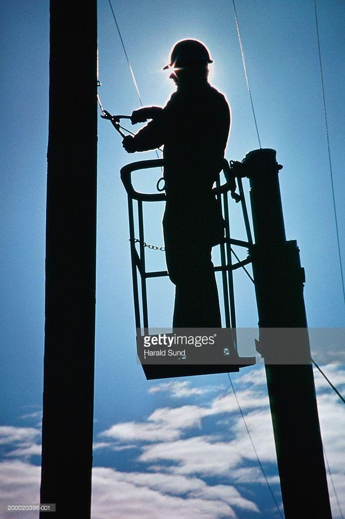 Standing Lineman Silhouette   Power Lineman On Pole Silhouette ...