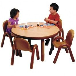 Angeles Baseline Preschool Round Table And 4 Chair Set Multiple