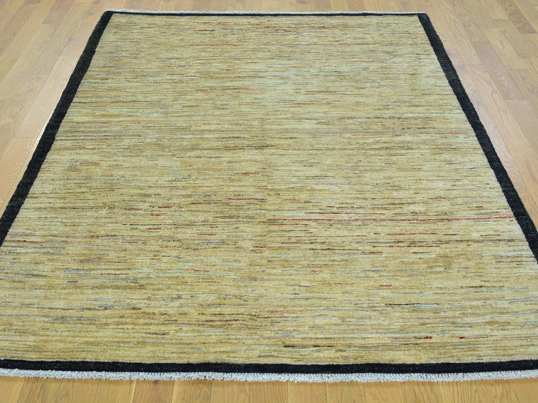 5 X6 Gabbeh Peshawar Pure Wool Hand Knotted Striped Oriental Rug