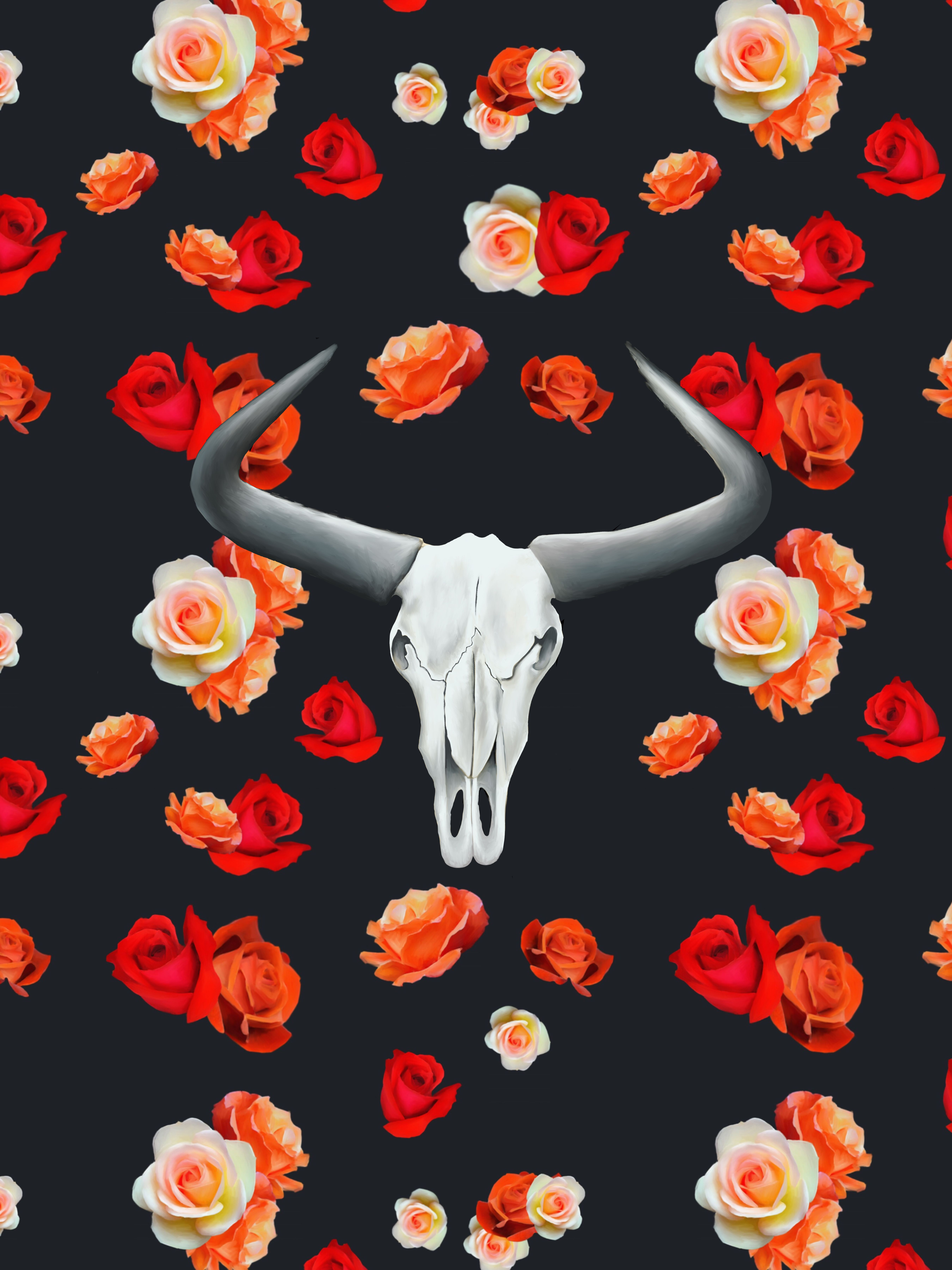 Cow Skull with Roses Digital Print in 2020 Cow wallpaper