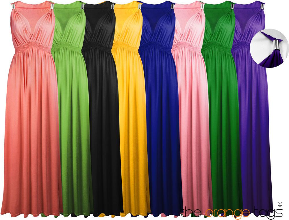 Details about NEW LADIES LONG STRETCH WOMENS MAXI DRESS | Woman ...