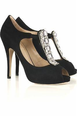 Valentino Diamante-Embellished Peep-Toe Pumps
