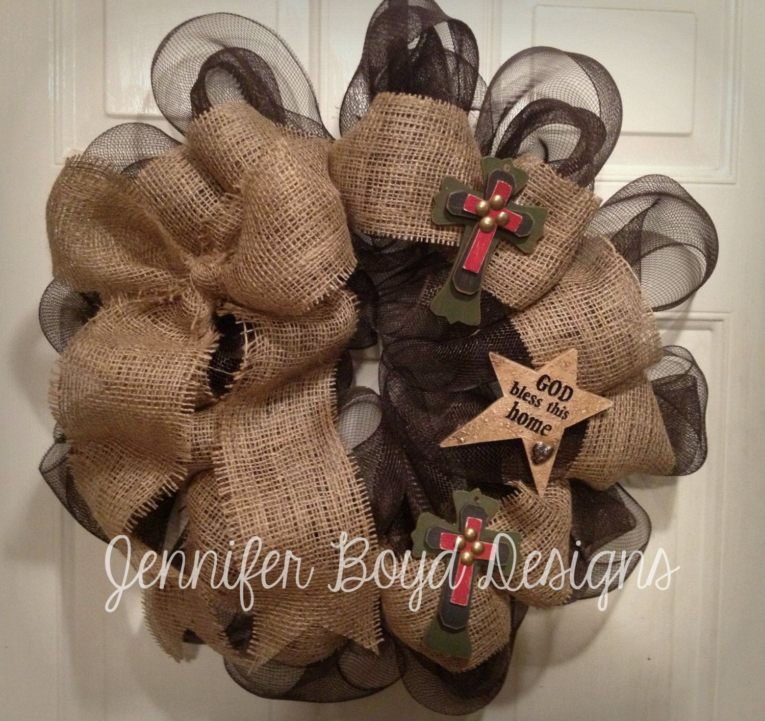 Crafts with deco mesh - Rustic Western Cross God Bless This Home Everyday Deco Mesh Wreath In Brown And Burlap