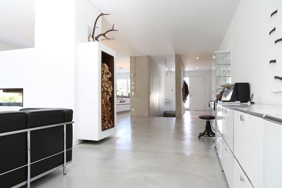 Wohnzimmer Kühlschrank ~ Minimalistische wohnzimmer bilder sichtbeton wände und treppe