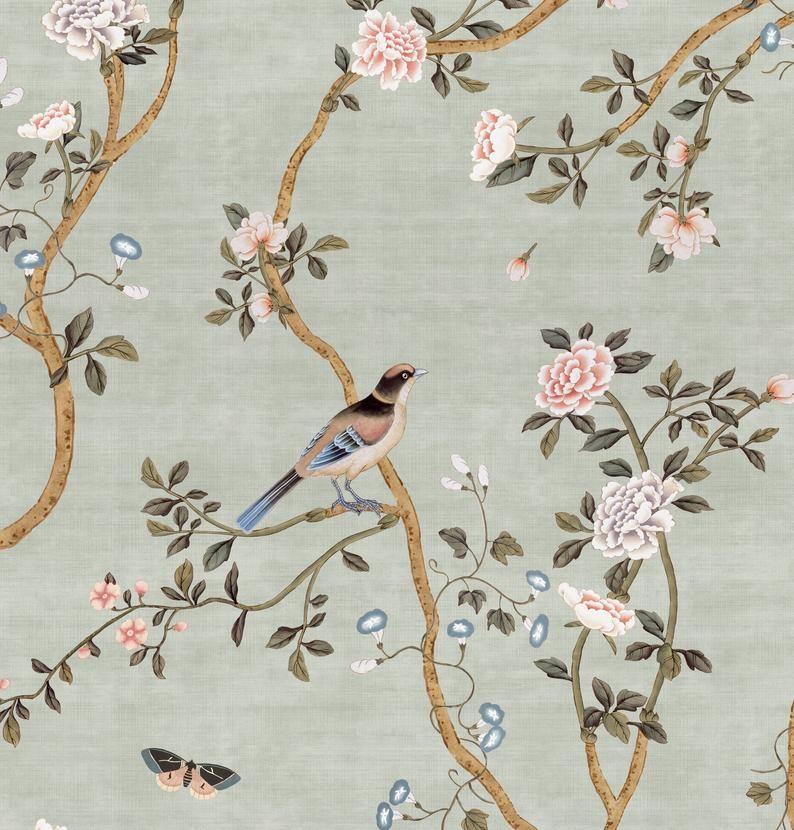 New Avignon Chinoiserie Peel N Stick Or Prepasted Etsy Chinoiserie Prepasted Wallpaper Canvas Texture