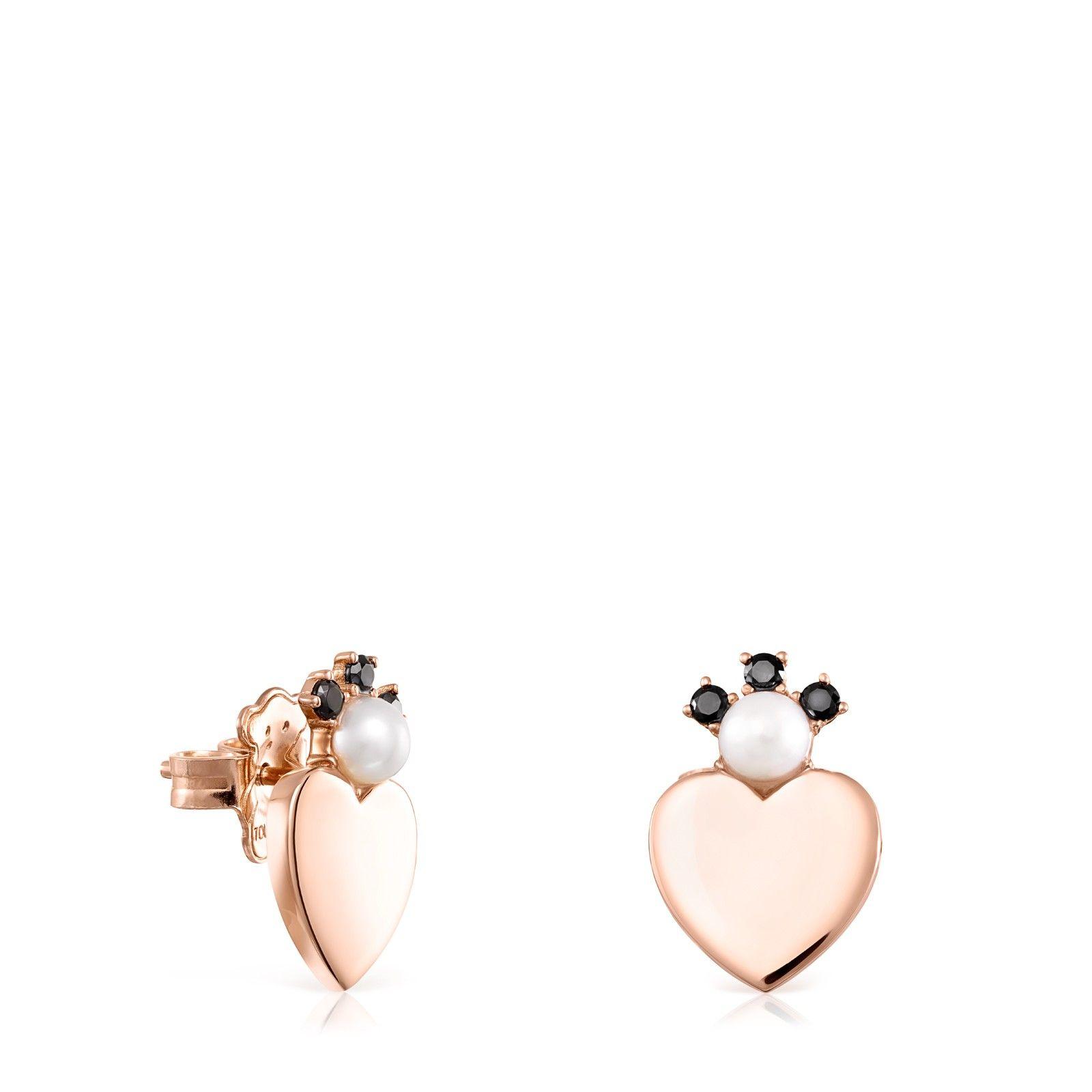 Rose Gold Vermeil Real Sisy Heart Earrings With Gemstones Tous Stud Earrings Earrings Heart Earrings