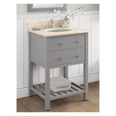 Harrison With Beige Marble Sink Top Set Bath Vanity Cabinet Gray