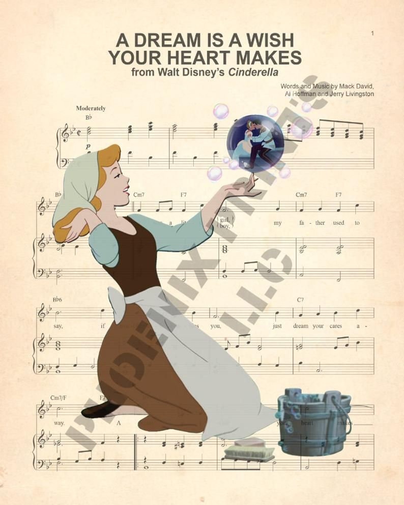 Cinderella A Wish Is A Dream Your Heart Makes Sheet Music Art