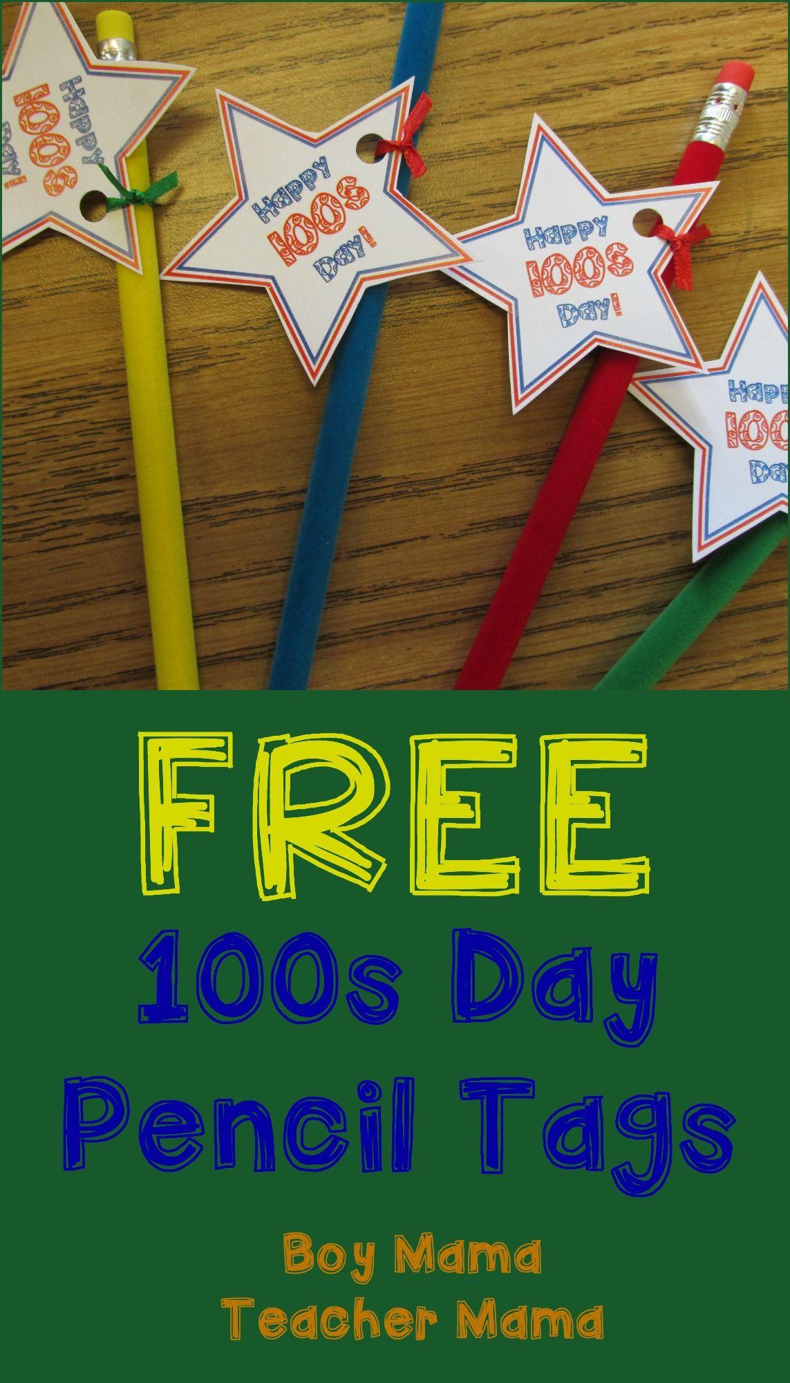 Teacher Mama Free 100s Day Pencil Tag