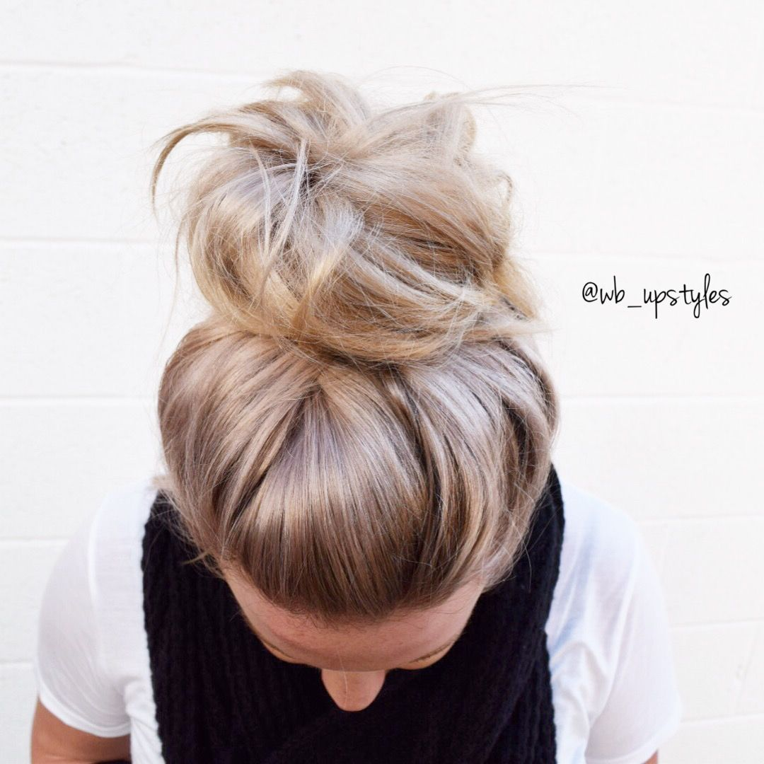 Perfect Messy Bun Topknot Hairstyle For Lazy Hair Days Hair By Whitney At Luxe Salon And Spa In Lancaster Pa Lazy Hairstyles Bun Hairstyles Hair Styles
