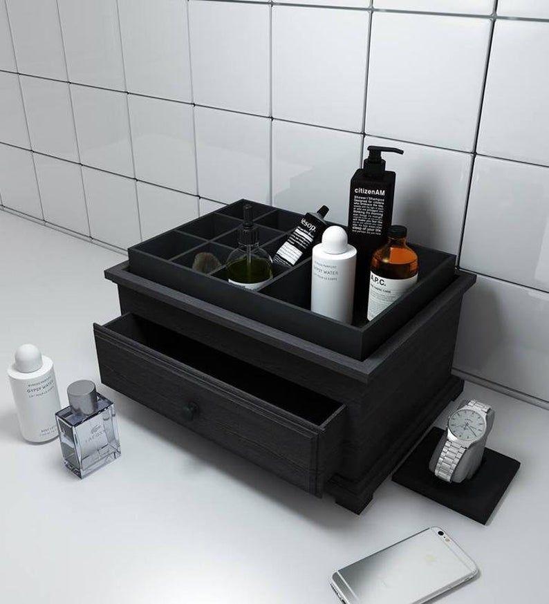 Men Organizer Box Mens Care Bath Cosmetic Organizer Wooden Etsy In 2020 Nightstand Organization Bath Organization Bathroom Organisation