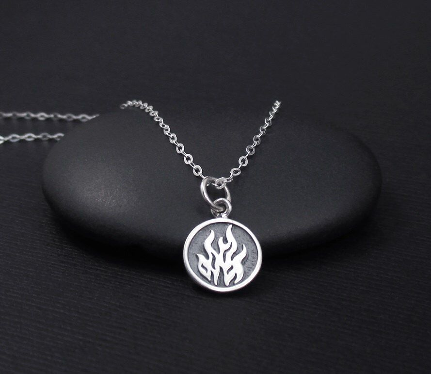 2607392ac Fire Element Necklace Sterling Silver Fire Necklace, Aries, Leo, Sagittarius  Element Necklace,