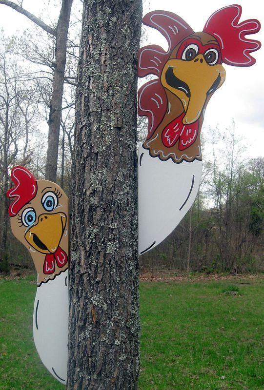 2 Piece Farm Chicken Tree Stable Peeker Farm Yard Art Decoration