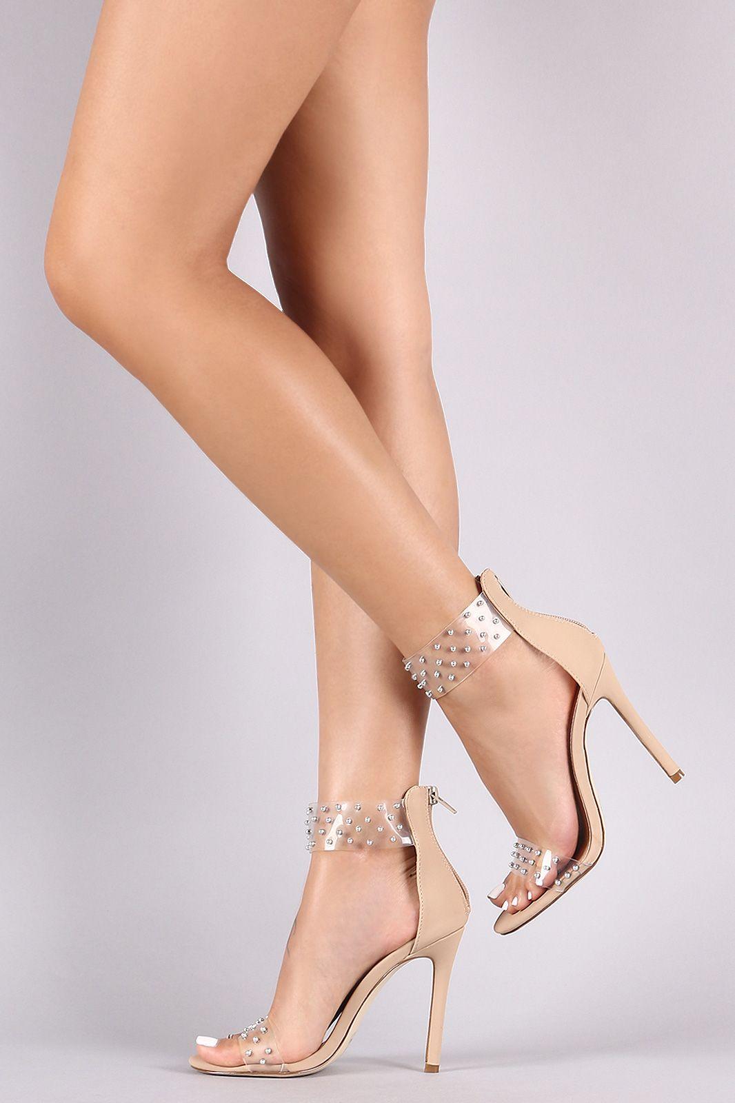 1c349f9d119 Studded Clear PVC Ankle Cuff Stiletto Heel | UrbanOG | HY Sexy Leg ...