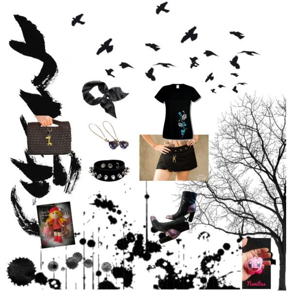 Black by nanitas23 on Polyvore featuring moda, Nine West, WALL and Nintendo