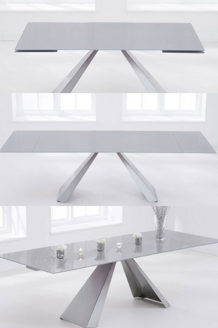 Hygena Extending Glass Dining Table In Light Grey And Metal Legs Extendable Chairs
