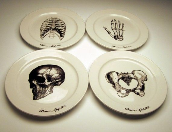 Bone Appetit 9 Inch Dinner Plates By Foldedpigs On Etsy Halloween Plates Plates Holiday Gift Guide