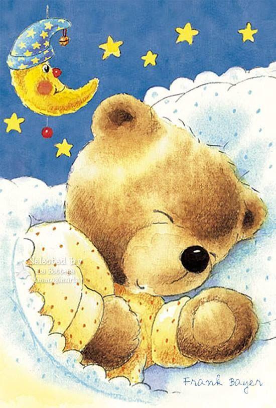 Открытки, картинки спокойной ночи с мишкой и зайкой
