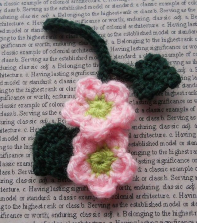 Crochet Apple Blossom Sprig Embellishment ~crochet#motif ...