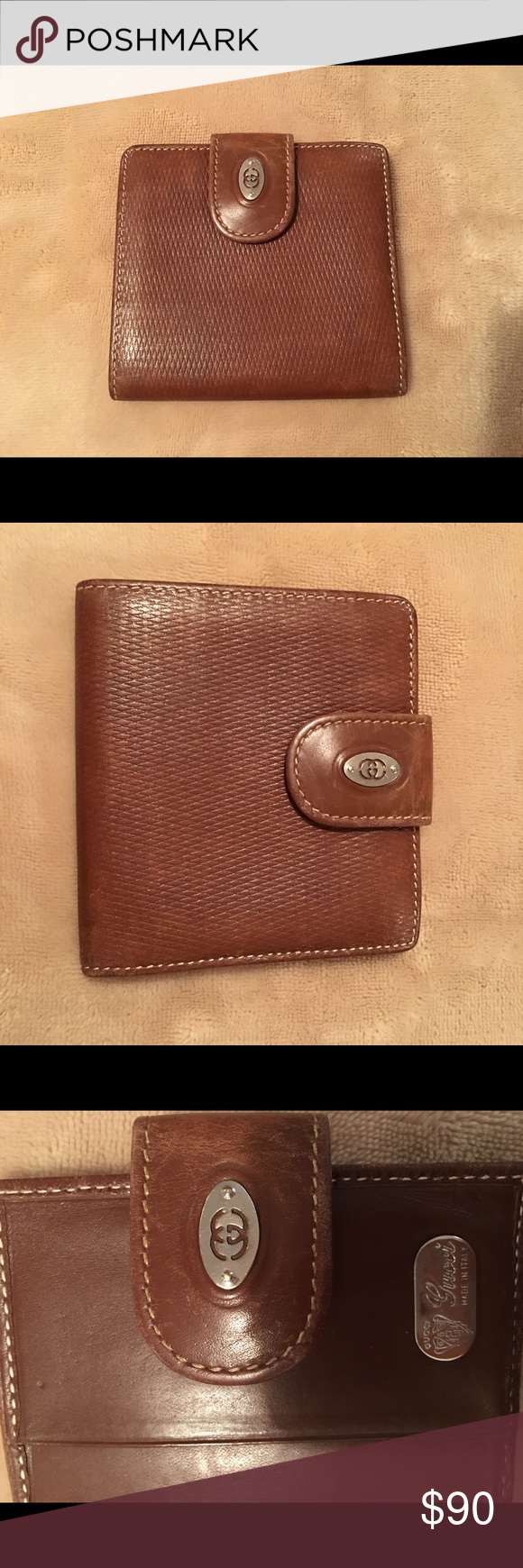 60d7c174aeb Authentic Vintage Gucci Wallet Vintage Brown leather Gucci wallet made in  Italy (has the Fiocchi