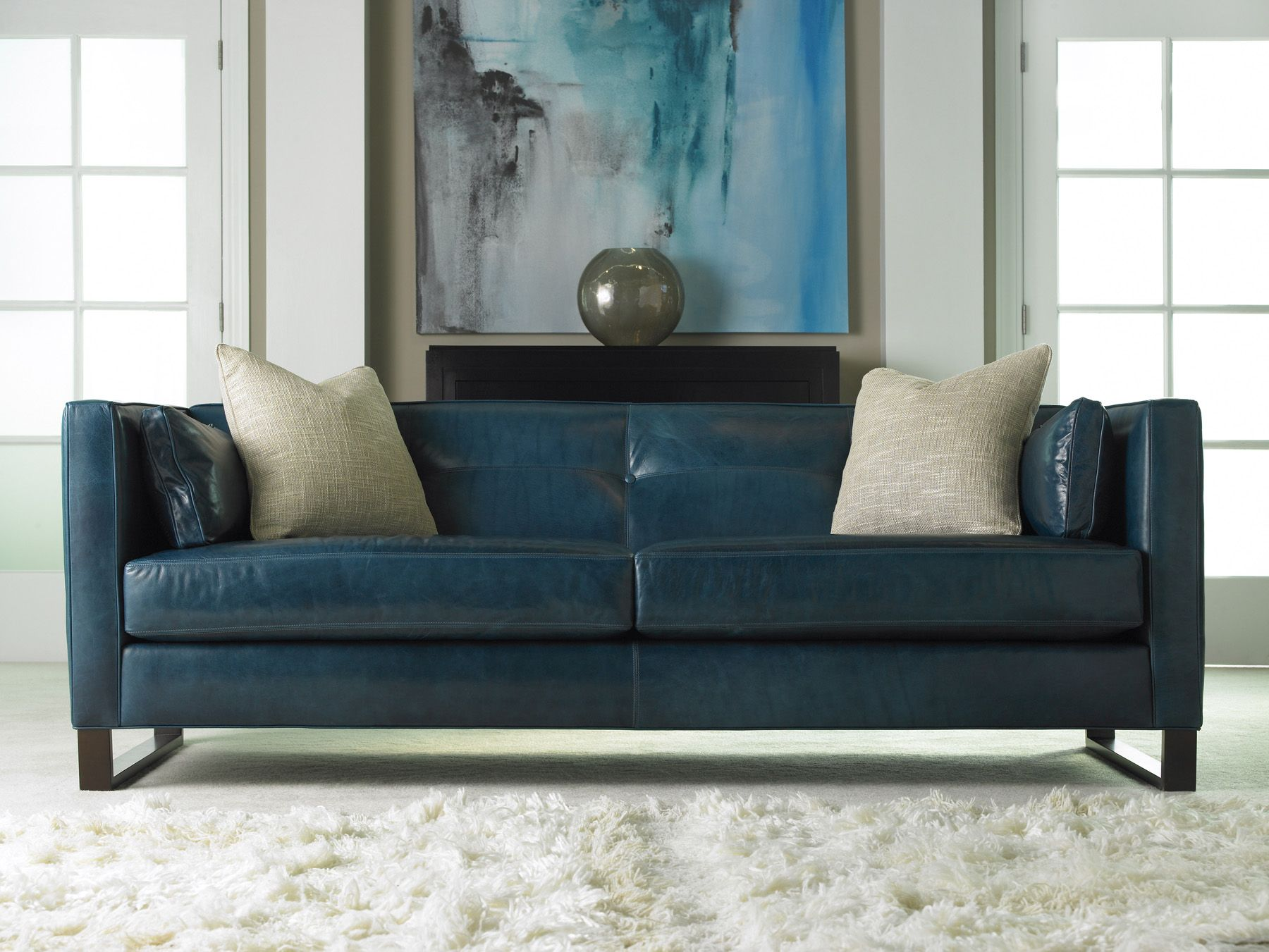 Painfully Beautiful Leather Is The Perfect Companion For Any Home And Is Versatile Enough To Fit Any Blue Leather Sofa Blue Leather Couch Modern Blue Sofa