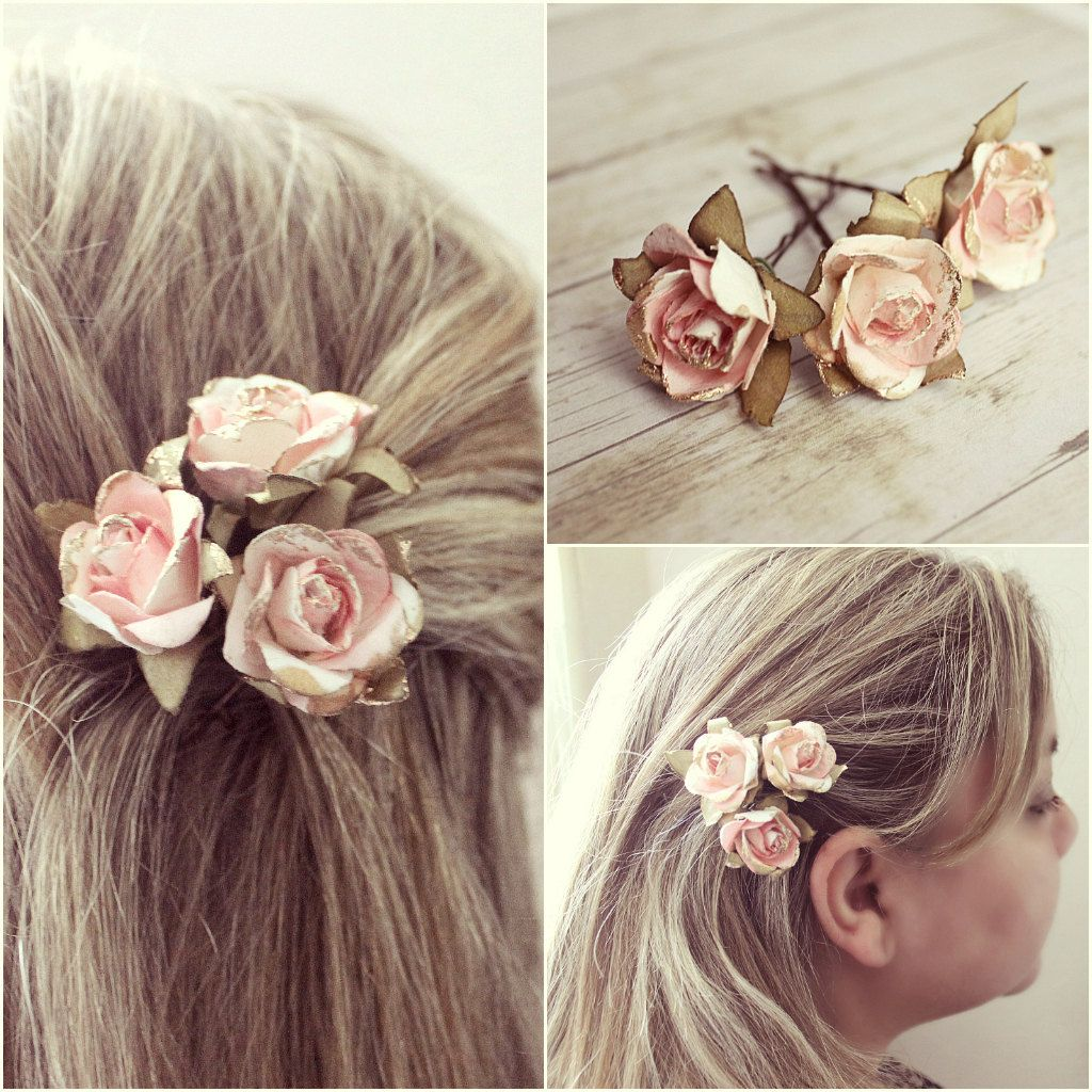 spring flower hair pins, floral hair clip, bridesmaids