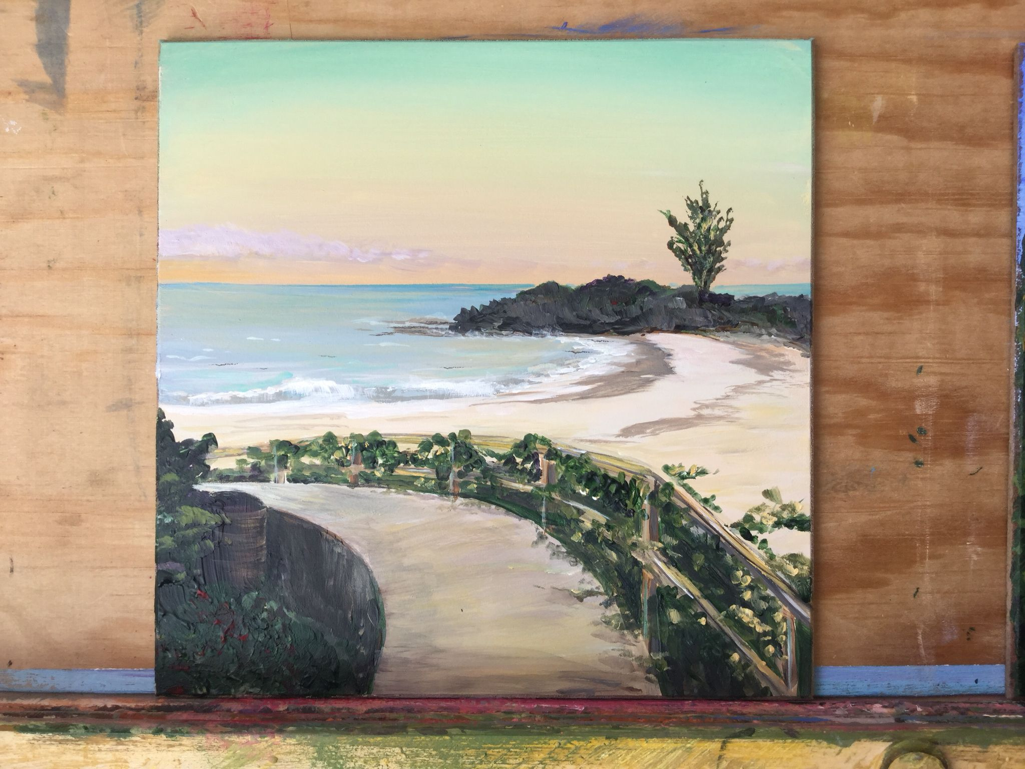 "John Smiths Bay Sunrise, 6x6"" acrylic"