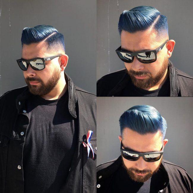 9e6a60b7e8 Sleek Blue Quiff Fat Face Haircuts
