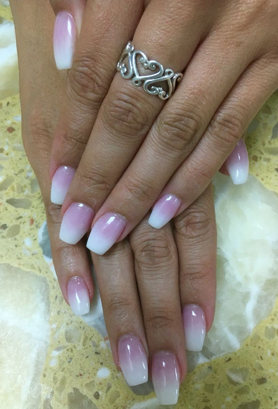 Ombré nails with pink and white powder in 2019