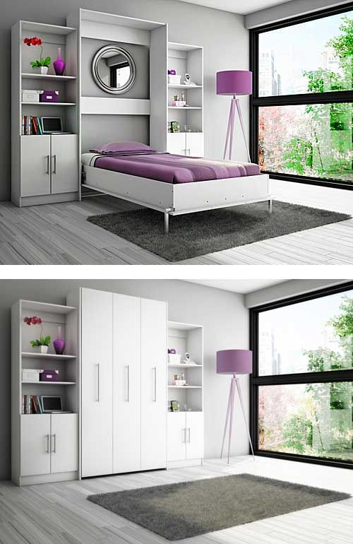 stylish white murphy twin bed