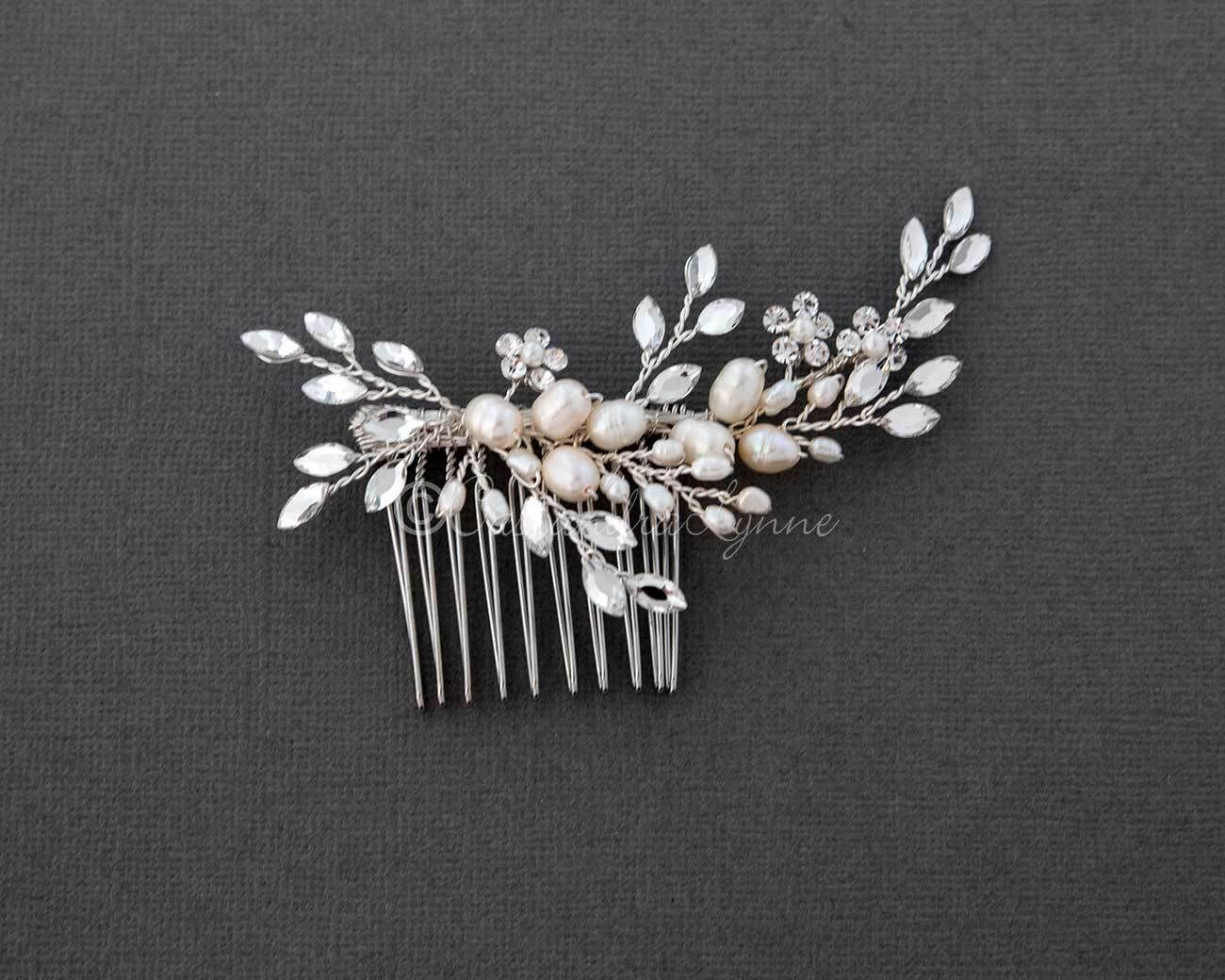 Freshwater Pearl Wedding Hair Comb With Marquise Rhinestone Silver Wedding Hair Comb Hair Accessories Wedding Hair Accessories