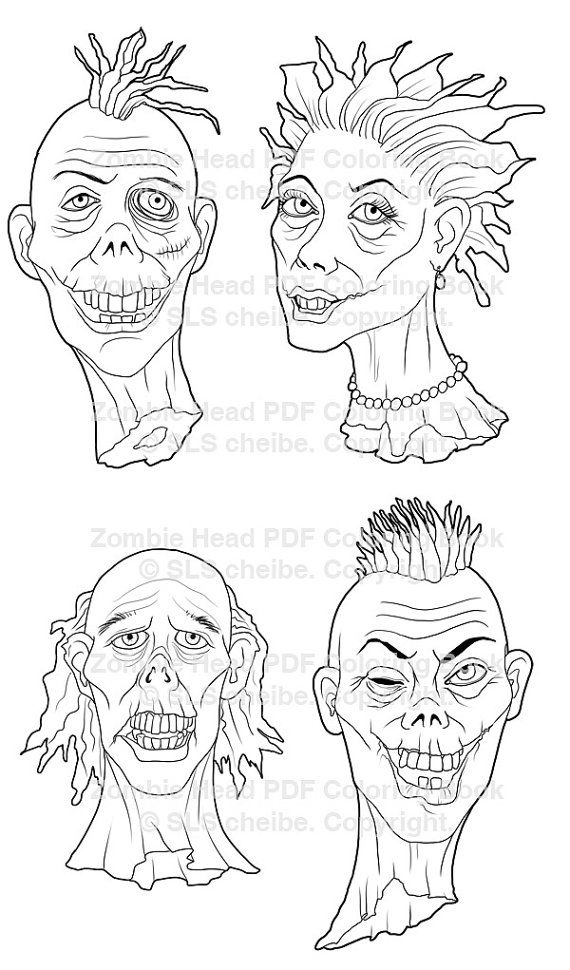 PDF Adult Coloring book of zombie heads, Coloring pages