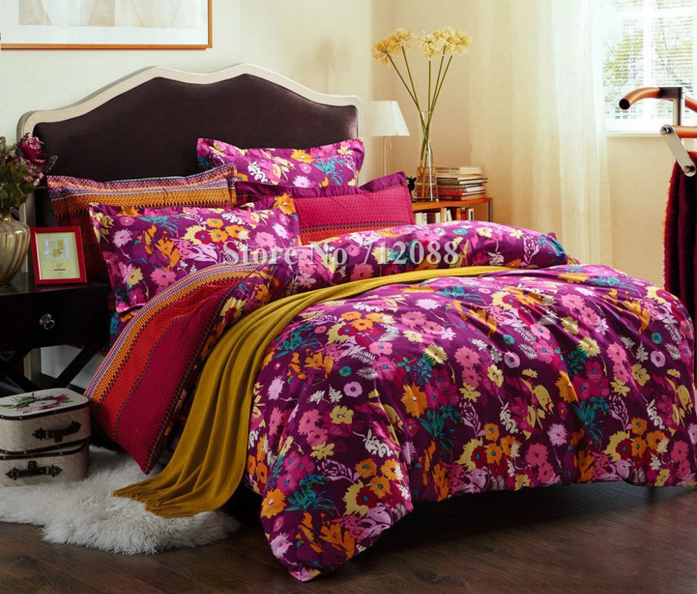 Free Shipping Colorful Flower Floral Rose Background 4pcs Queen King Comforter Bedding Sets 100 Cotton Quilt Duvet Cov Comforter Bedding Sets Bed Bedding Sets