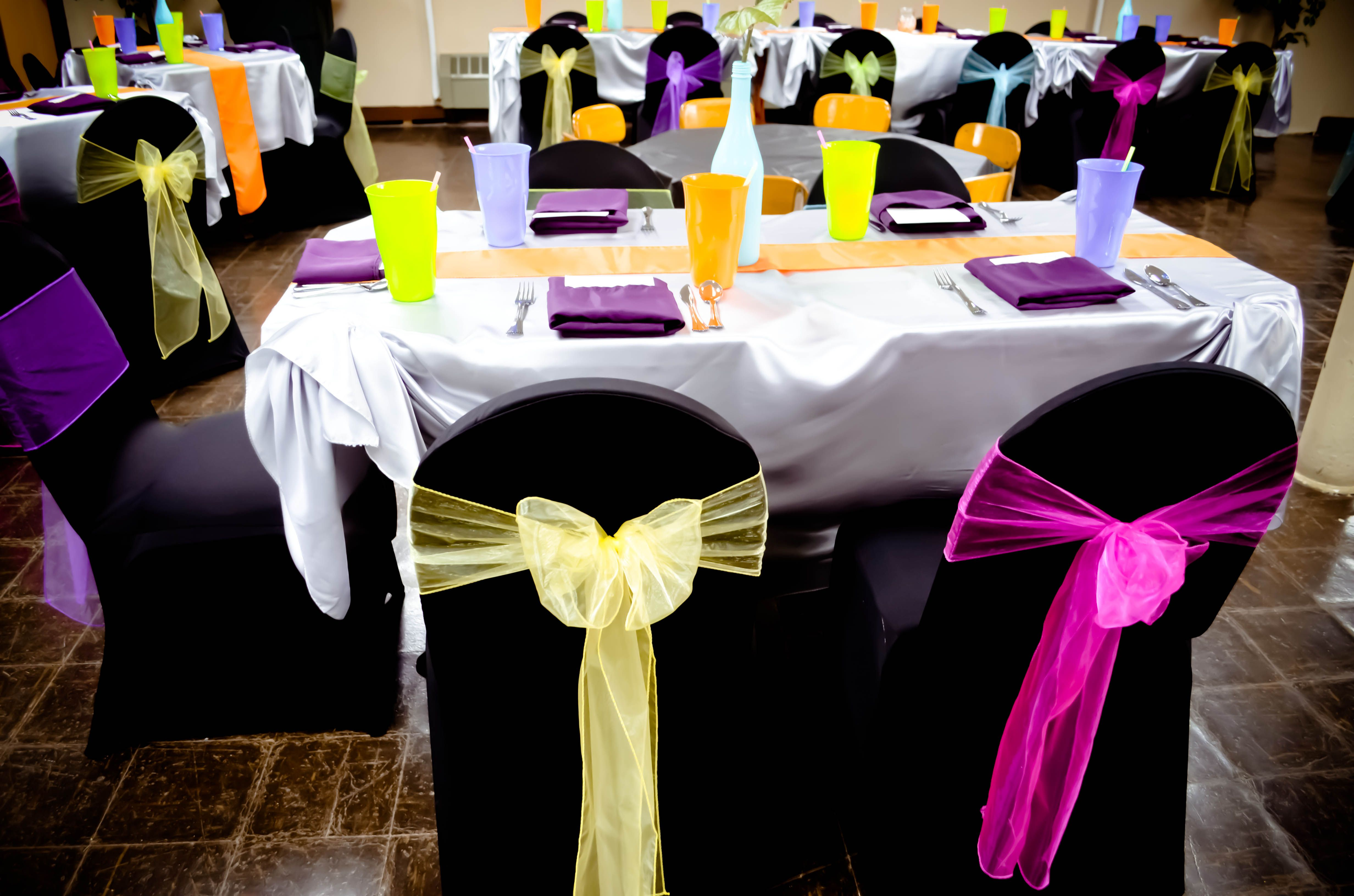 Party: Black Spandex Chair Covers, Silver Satin Tablecloths With Orange  Satin Table Runners,