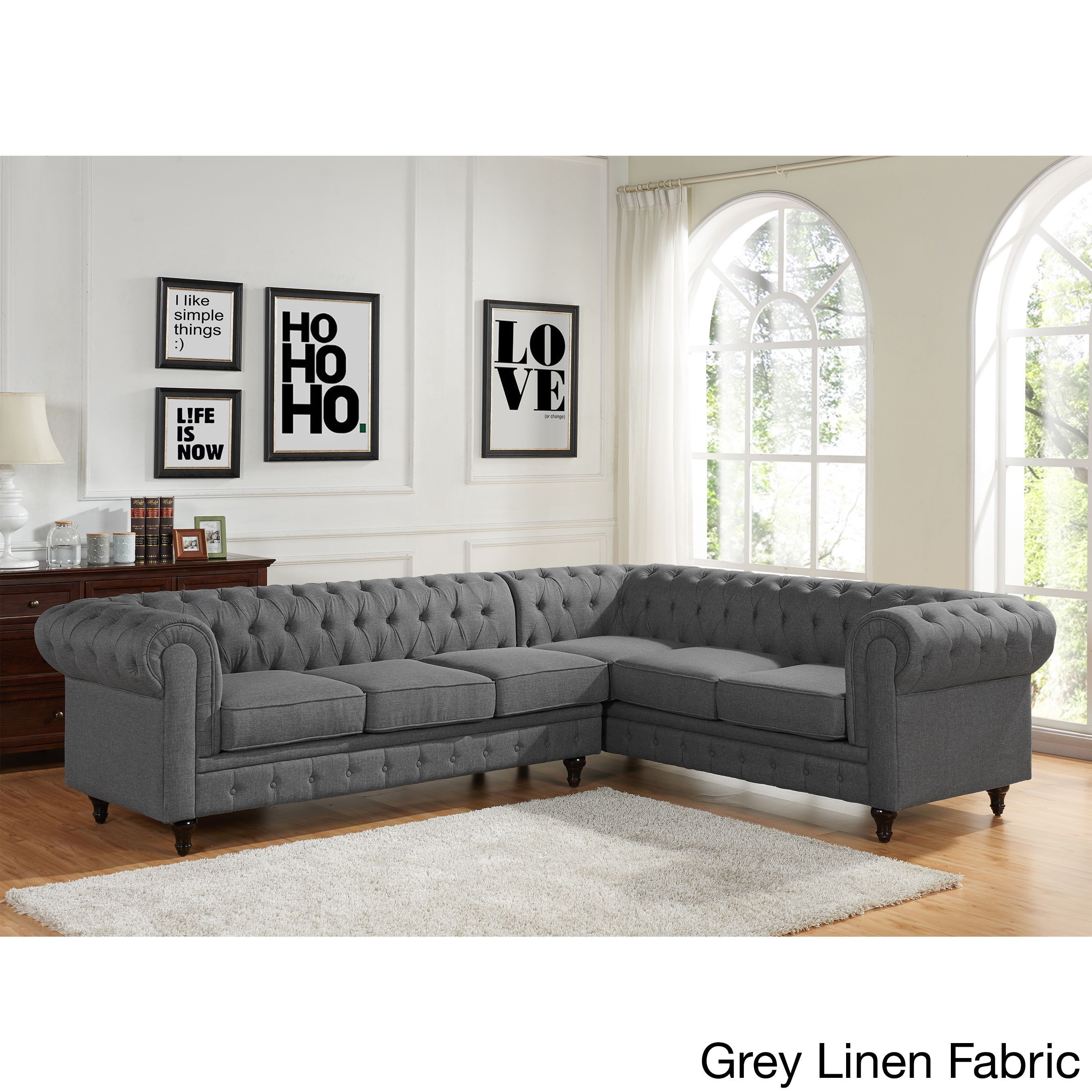 US Pride Furniture Sophia Modern Style Tufted Rolled Arm Left Facing Chaise  Sectional Sofa (Grey Linen Fabric Sectional Sofa Set) (Bonded Leather)