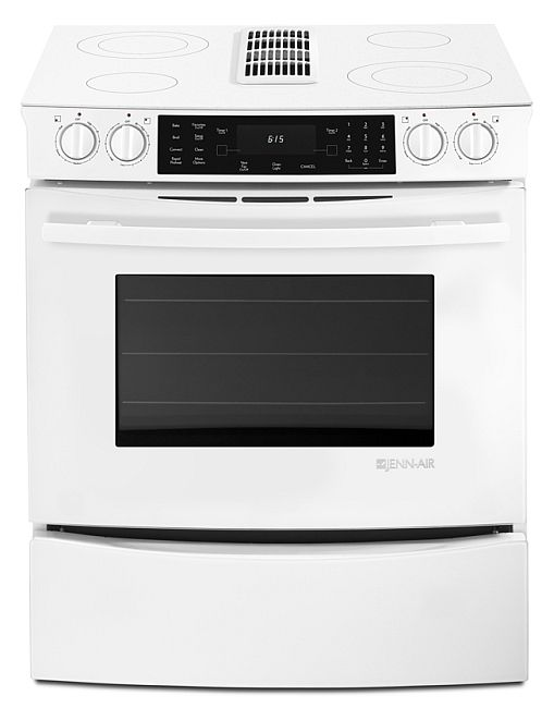 Jes9800caf Jenn Air 30 Slide In Electric Downdraft Range With Convection Floating Gl White Hawthorne Liance