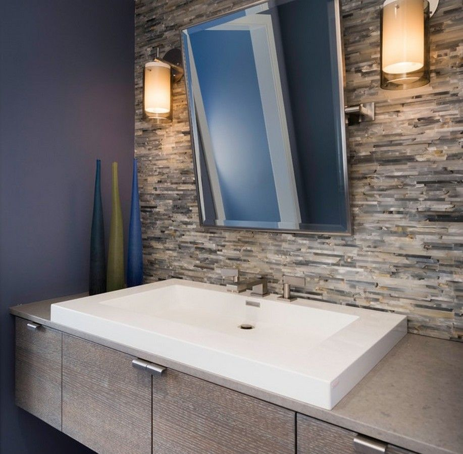 Modern bathroom mirrors - Modern Bathroom With Beveled Edge Mirror And Caesar Stone Counter Floating Vanity Also Vessel Sinks And