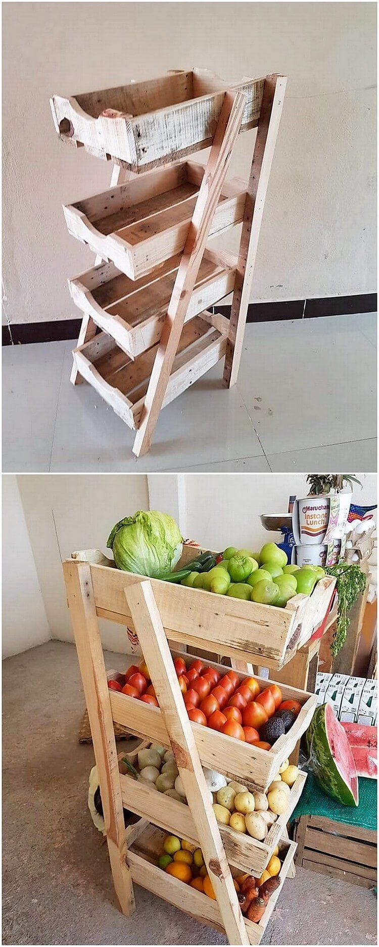 Styling The Kitchen Location With The Vegetable And Fruit Rack Style Wood Pallet Is Much A Unique Piece Of Idea To Make Wood Pallets Pallet Diy Pallet Kitchen