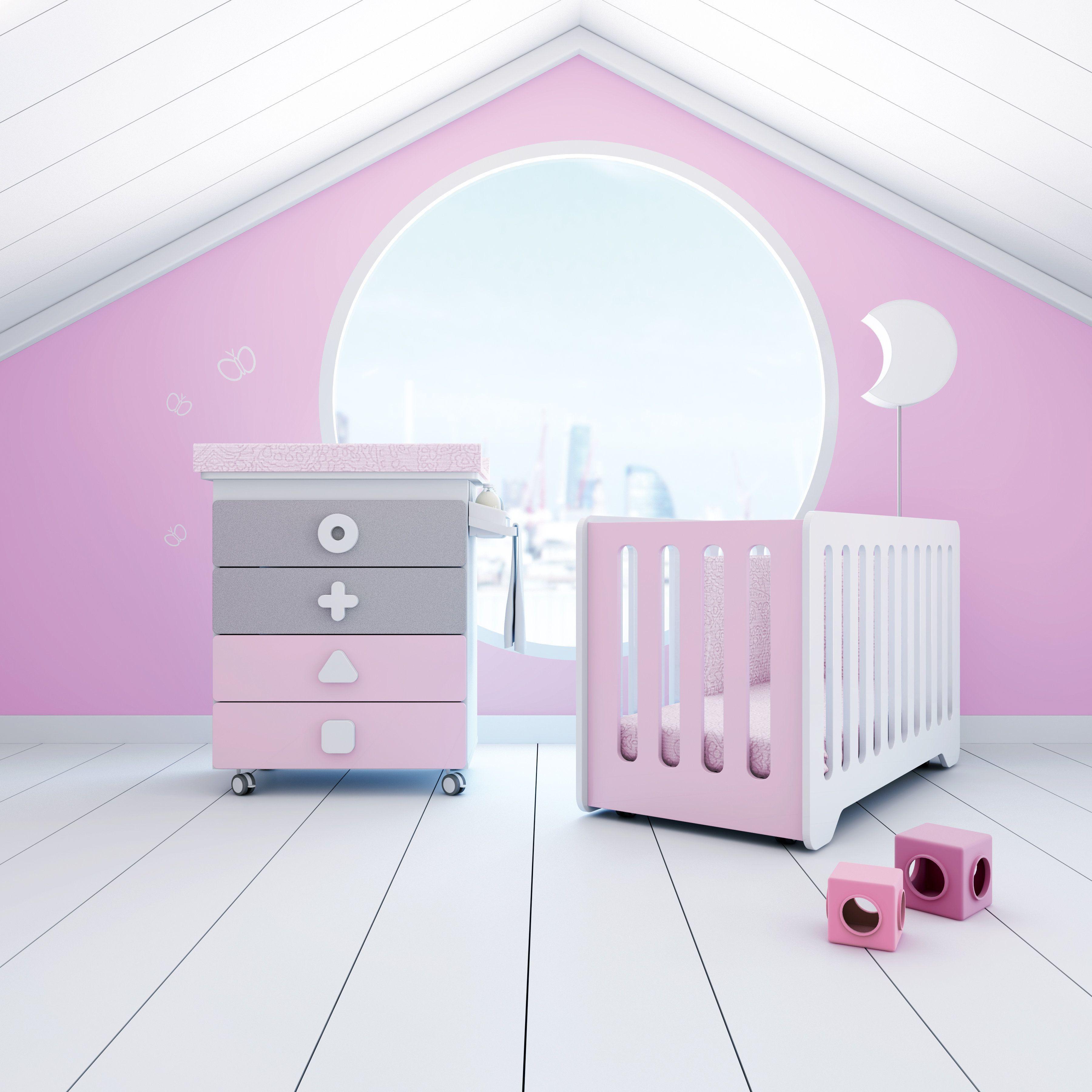 Colección MATHS color rosa para ellas, mueble bañera cambiador ...