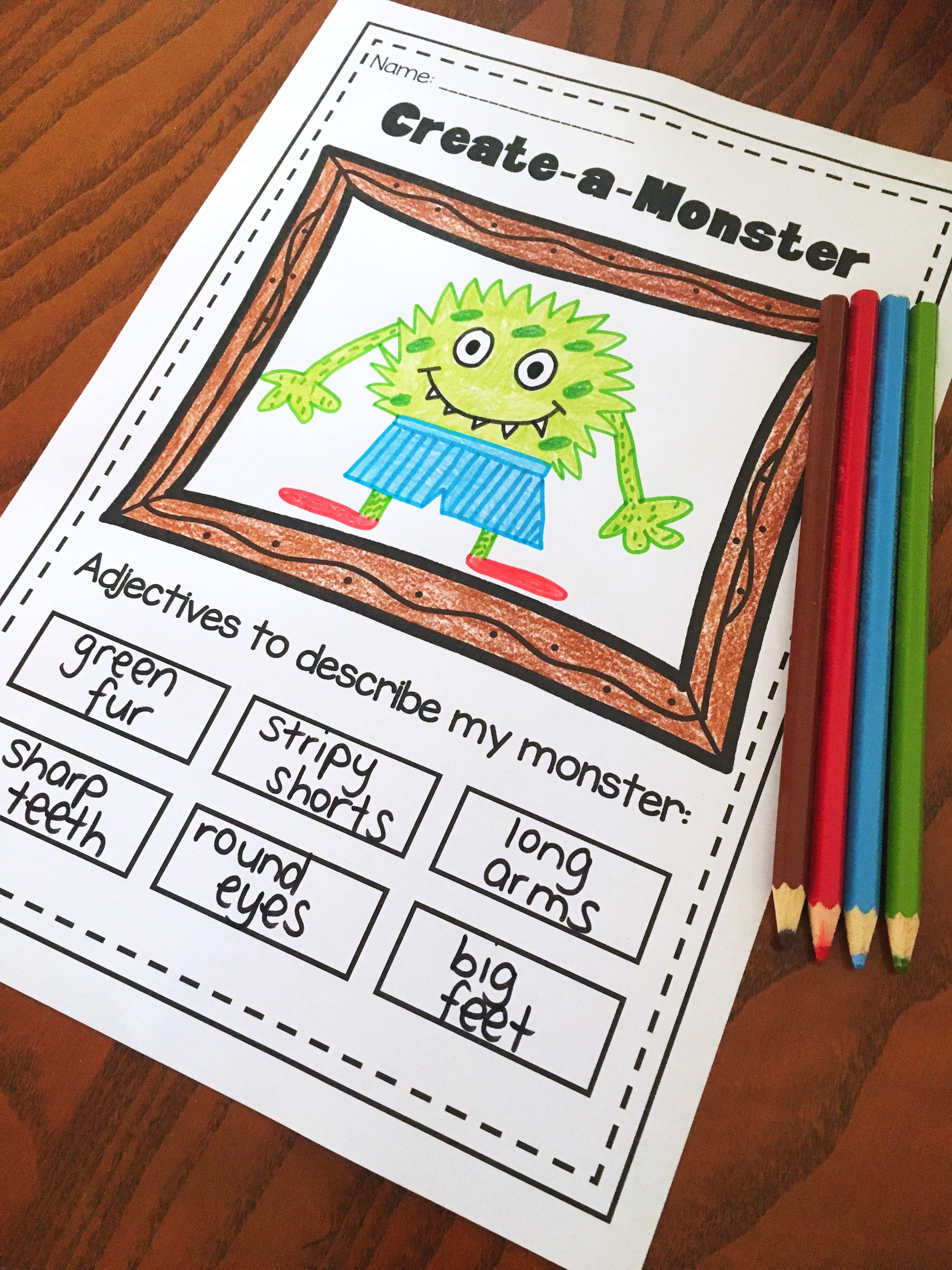 Adjective printable worksheet pack. No prep bundle for kindergarten, first  grade and second grade