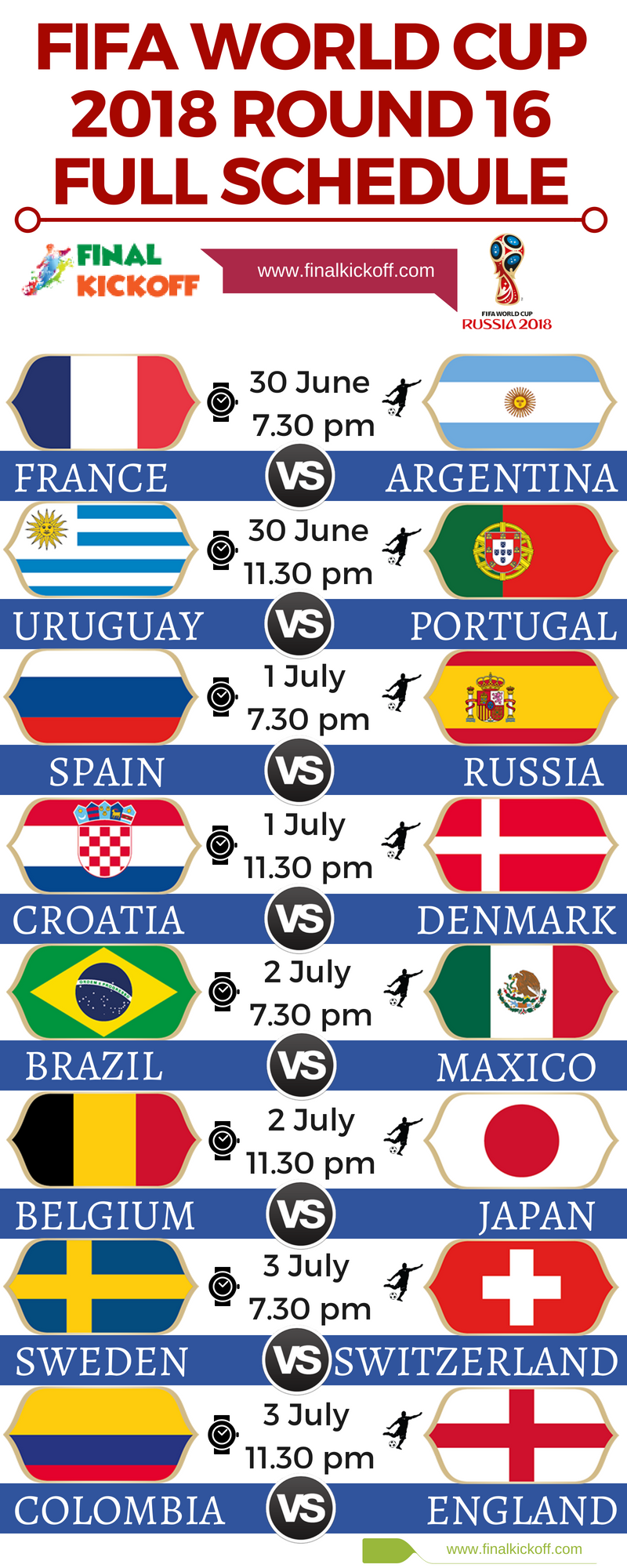 FIFA WORLD CUP 2018 ROUND 16 FULL SCHEDULE Coupe du